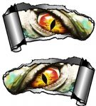 Small Pair Ripped Torn Metal Gash Design & Evil Eye Monster Vinyl Car Sticker 93x50mm each